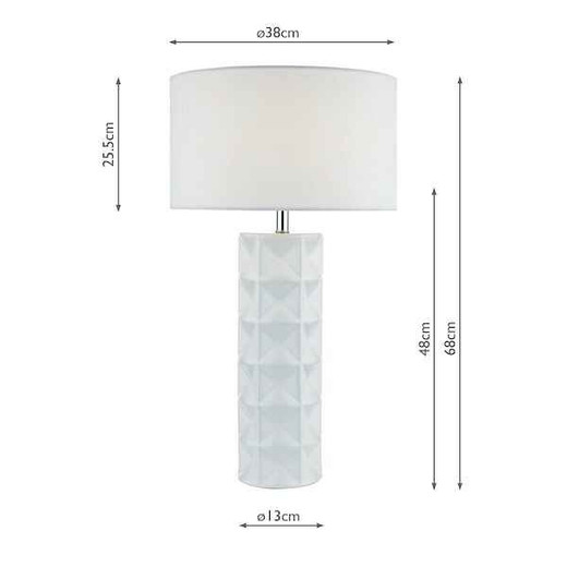Gift White With White Linen Shade Table Lamp
