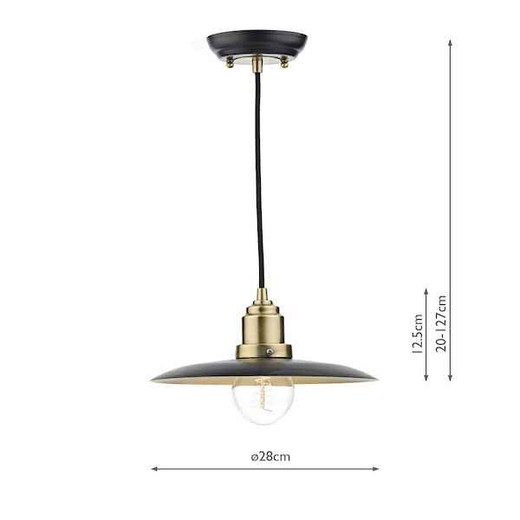 Hannover Black Antique Brass Pendant Light