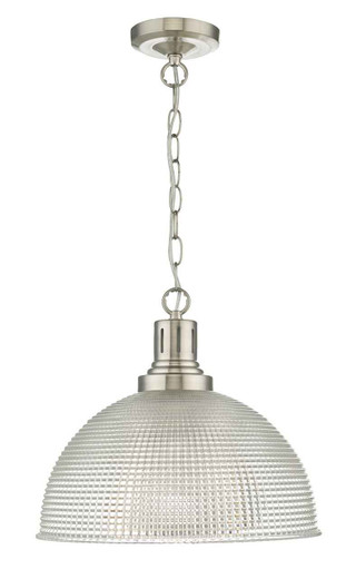 Hodges Glass Satin Nickel Clear with shade Pendant Light