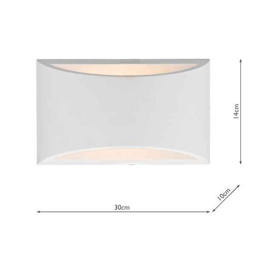 Hove 2 Plaster Light Up and Down Light Large Wall Light