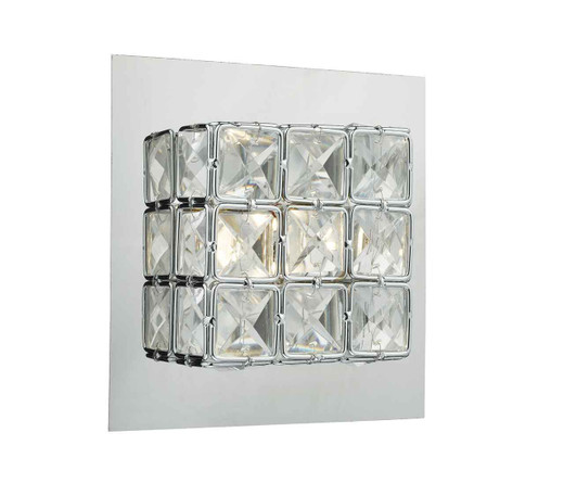 Imogen glass faceted squares Polished Chrome frame LED Wall Light