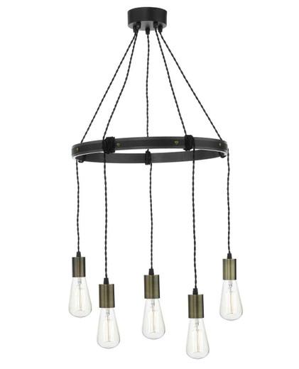 Ivan 5 Light Rustic Vintage Wood Aged Brass Pendant light
