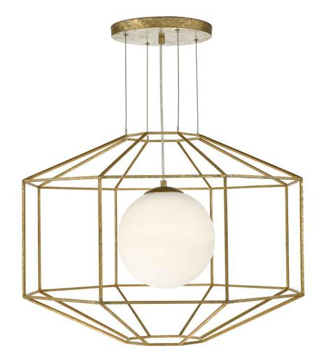Izmir Hexagonal Old Gold Frame Opal Glass Pendant Light