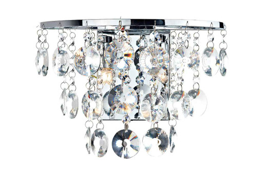 Jester 2 Light Polished Chrome with Clear Crystal Droppers Wall Light