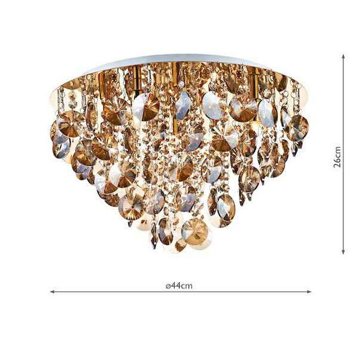 Jester 5 Light Antique Gold with Amber Crystal Droppers Flush Ceiling Light