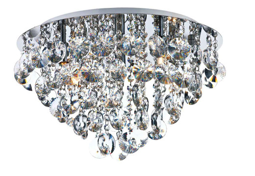 Jester 5 Light Polished Chrome with Clear Crystal Droppers Flush Ceiling Light