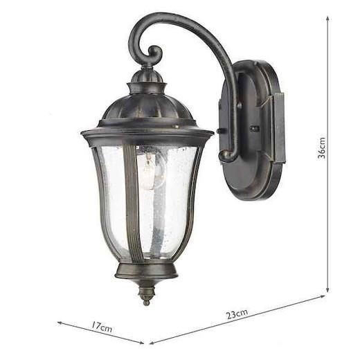 Johnson Black Gold IP44 Outdoor Wall Light Lantern