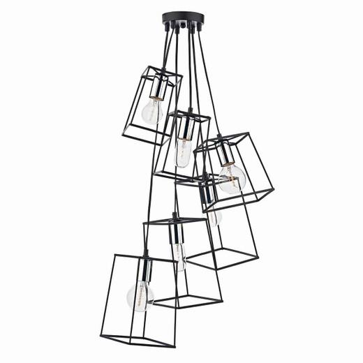 Tower 6 Light Black & Polished Chrome Cluster Pendant Light