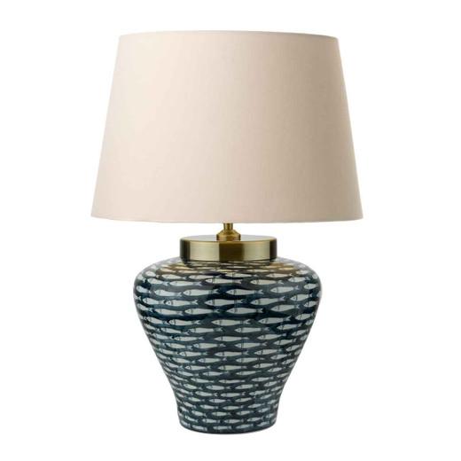Joy Porcelain Blue White Fish Motif Table Lamp Base Only