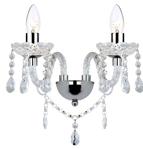 Katie Polished Chrome Acrylic Glass Double Wall Light