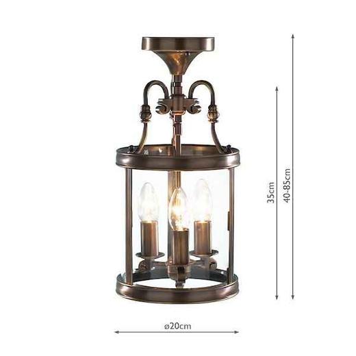 Lambeth Circular Hall Antique Brass Dual Mount Lantern