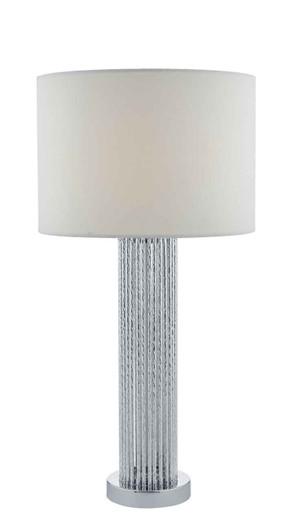 Lazio Silver with White Cotton Drum Shade Table Lamp