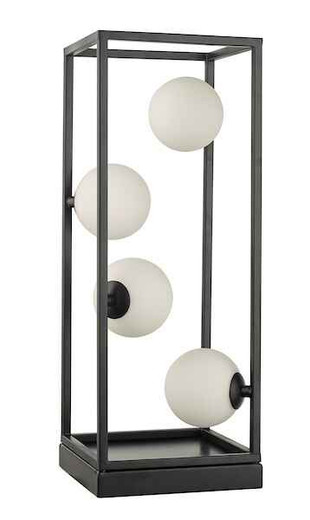 Ensio 4 Light Matt Black and Opal Glass Table Lamp