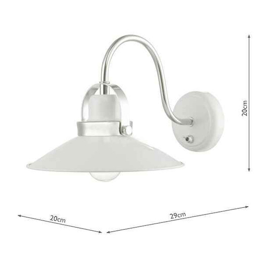Liden White and Polished Chrome Metal Wall Light