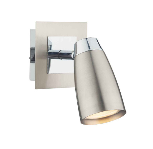 Loft 1 Light Low Energy Satin Polished Chrome with Switch Wall Light