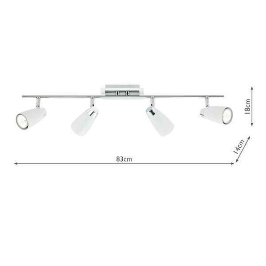 Loft 4 Light White and Polished Chrome Spot Bar