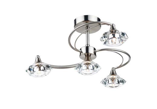 Luther 4 Light Satin Chrome Crystal Semi Flush Ceiling Light