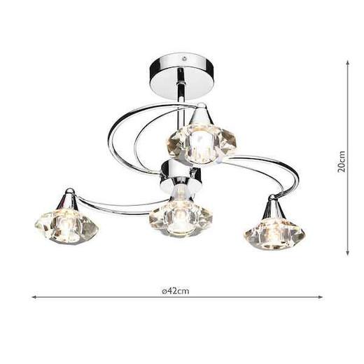 Luther 4 Light Polished Chrome Crystal Semi Flush Ceiling Light