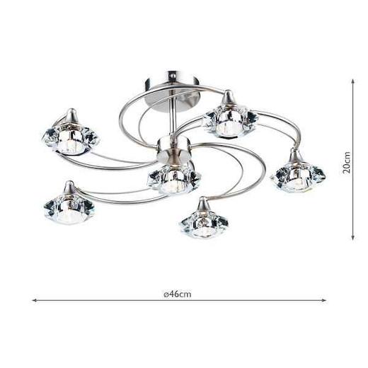 Luther 6 Light Satin Chrome Crystal Semi Flush Ceiling Light