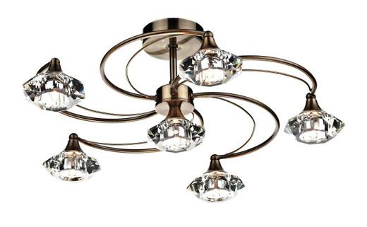 Luther 6 Light Antique Brass Crystal Semi Flush Ceiling Light