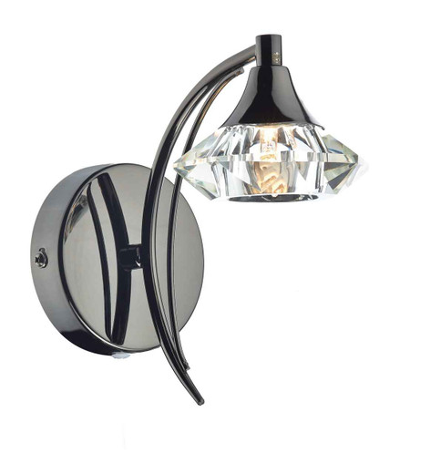 Luther 1 Light  Black Chrome Crystal Wall Light