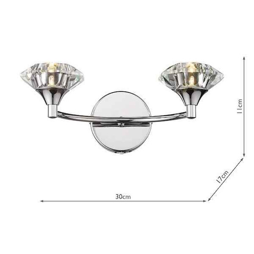 Luther Polished Chrome Crystal Double Wall Light