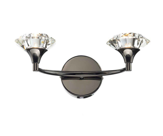Luther Black Chrome Crystal Double Wall Light