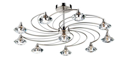 Luther 10 Light Satin Chrome Crystal Semi Flush Ceiling Light