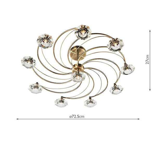 Luther 10 Light Antique Brass Crystal Semi Flush Ceiling Light