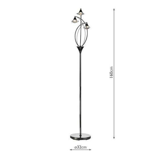 Luther 3 Light Black Chrome Crystal Floor Lamp