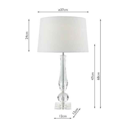 Macy Cut Crystal Base with White Faux Silk Lined Shade Table Lamp