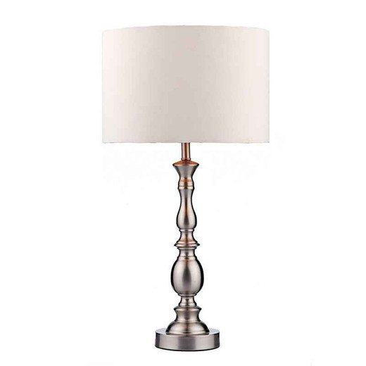 Madrid Ball Satin Chrome with Shade Table Lamp