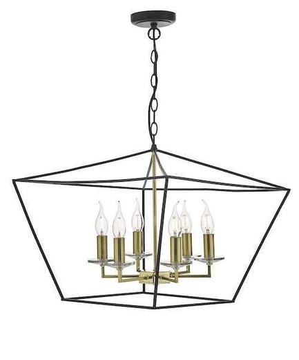 Gretchen 6 Light Matt Black and Polished Brass Pendant Light