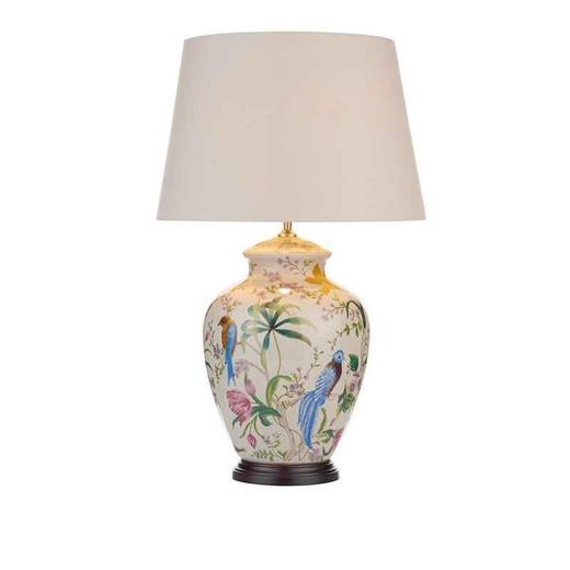 Mimosa White Floral Bird Table Lamp Base Only