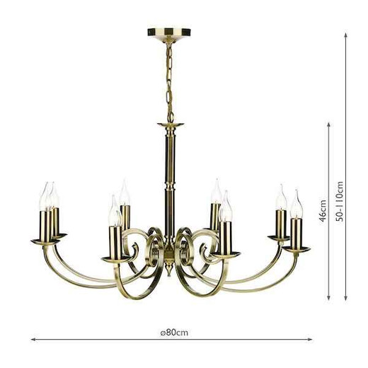 Murray 8 Light Antique Brass Dual Mount Pendant Light