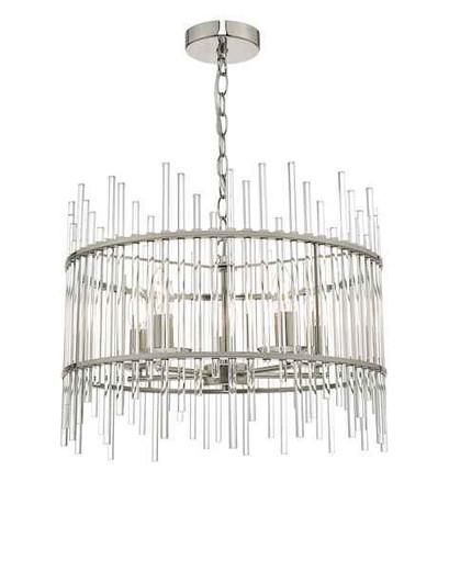 Olyn 5 Light Polished Nickel & Glass Pendant Light