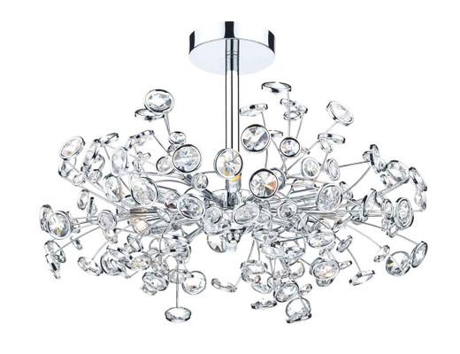 Oberoi 6 Light Polished Chrome and Crystal Semi Flush Pendant