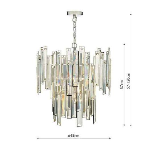 Odile 6 Light Champagne Crystal Polished Nickel Frame Pendant Light