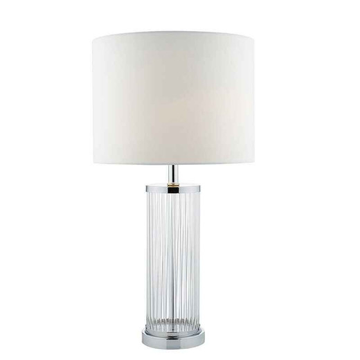 Olalla Polished Chrome and Clear Glass with Ivory Shade Table Lamp