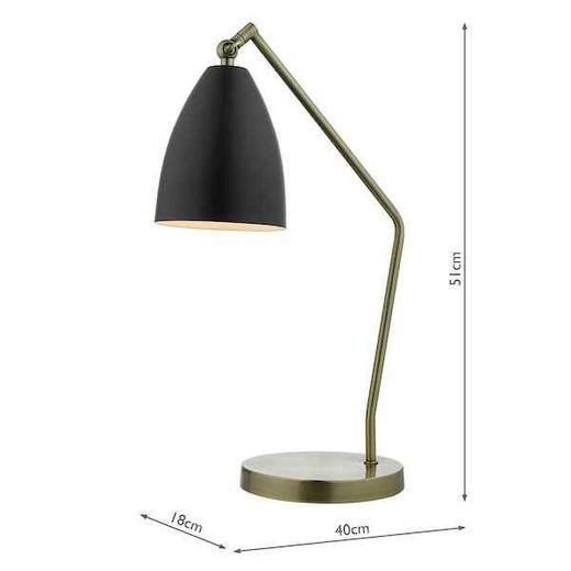 Olly Antique Brass Black Task Table Lamp