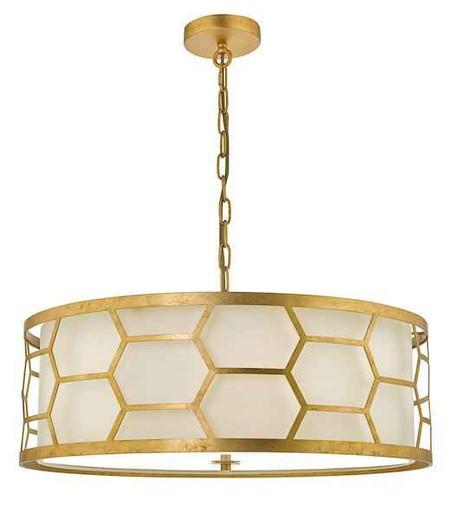 Epstein 4 Light Gold Leaf and Ivory Linen Shade Pendant Light