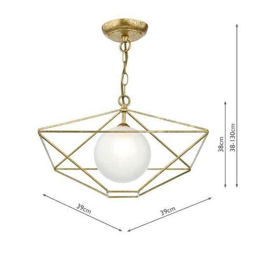 Orsini 1 Light Antique Gold with Opal Glass Shade Pendant Light