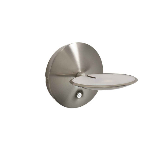 Oundle Satin Nickel LED Wall Light Uplighter with Switch