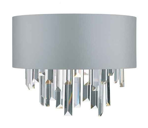 Halle Grey Fabric Shade and Crystal with Shade Wall Light