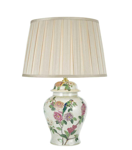 Peony Porcelain Base Hand Finished Floral Motif Table Lamp