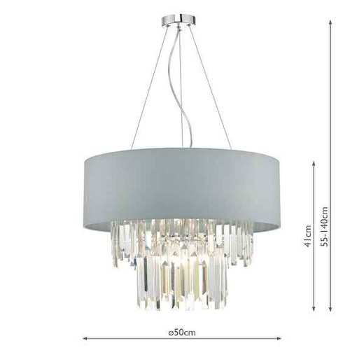 Halle 6 Light Grey Shade and Crystal with Shade Pendant Light