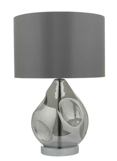 Quinn Smoked Grey Glass with Shade Table Lamp