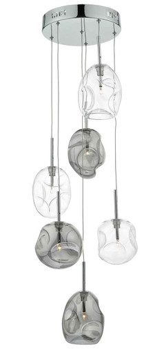 Quinn 6 Light Smoked Grey Clear Glass Cluster Pendant