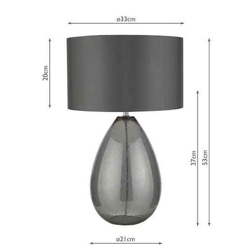 Rain Smoked Glass with Grey Shade Table Lamp