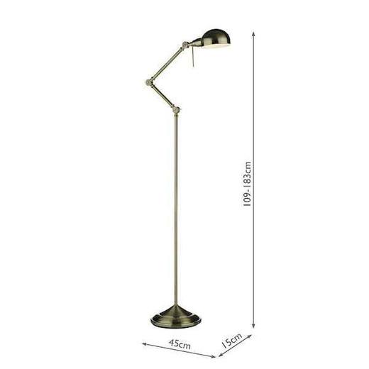 Ranger Antique Brass Floor Lamp Adjustable Reading Light